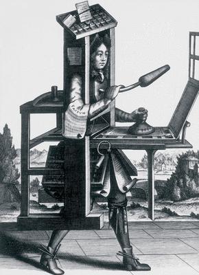 Imprimeur en lettre, Larmessin, XVIIe siècle © Bibliothèque nationale sur les publications destinées à la jeunesse